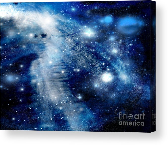 Clouds Acrylic Print featuring the digital art Just Beyond The Moon by Janice Westerberg
