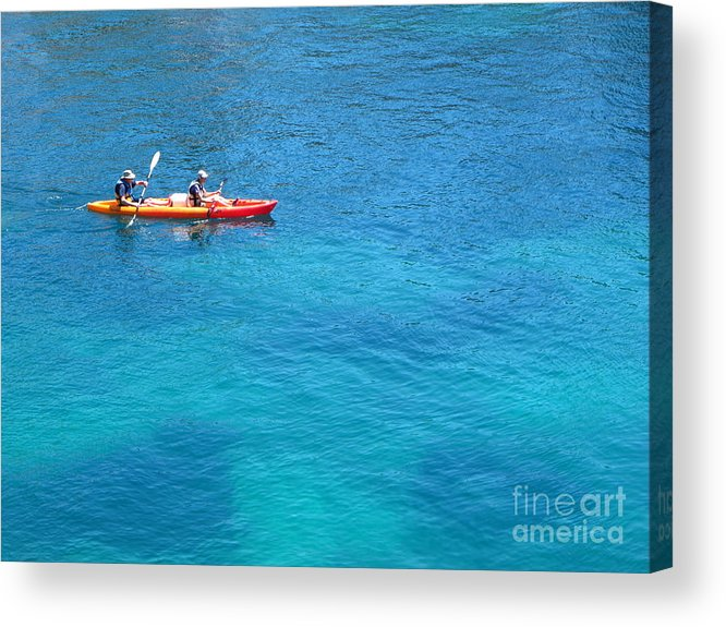Cassis Acrylic Print featuring the photograph Kayaking At Calanque De Port Miou In Cassis France by Luis Moya