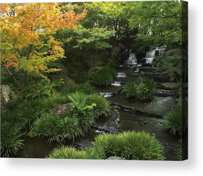 Japan Acrylic Print featuring the photograph Kokoen Garden Waterfall - Himeji Japan by Daniel Hagerman