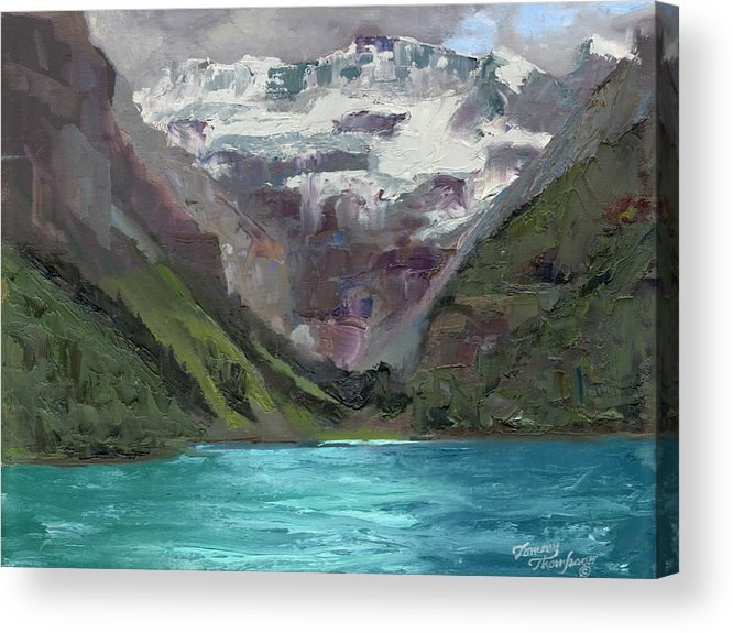 Landscape Acrylic Print featuring the painting Lake Louise Canada by Tommy Thompson