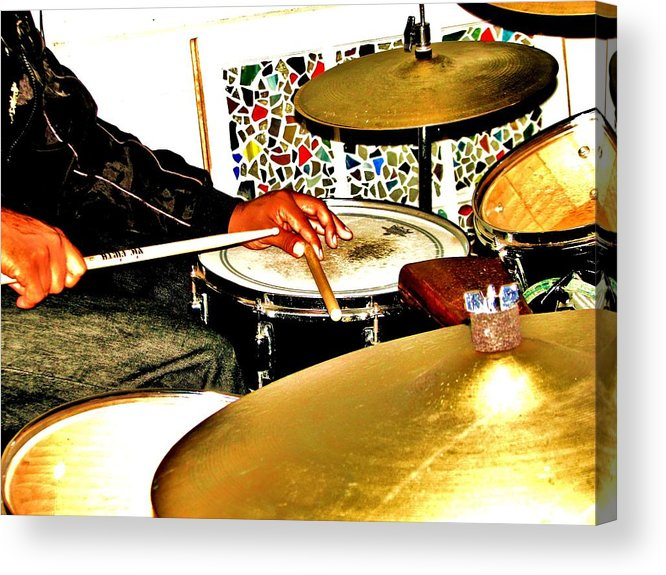 Drummer Acrylic Print featuring the photograph Leo Drumming by Cleaster Cotton