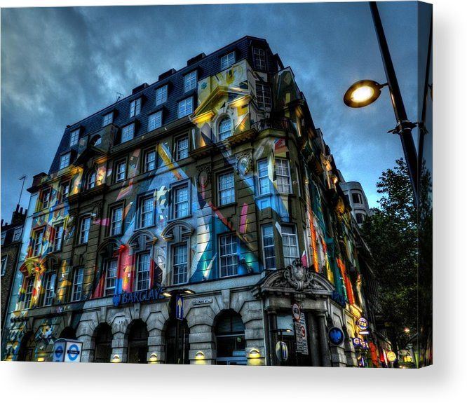 Barclay's Acrylic Print featuring the photograph London 012 by Lance Vaughn
