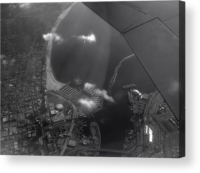 Longbeach Acrylic Print featuring the photograph Long Beach Ca Aerial Bw by Thomas Woolworth