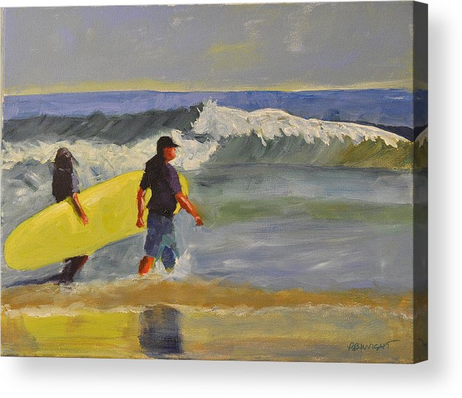 Wright Acrylic Print featuring the painting Longboard by Paulette B Wright