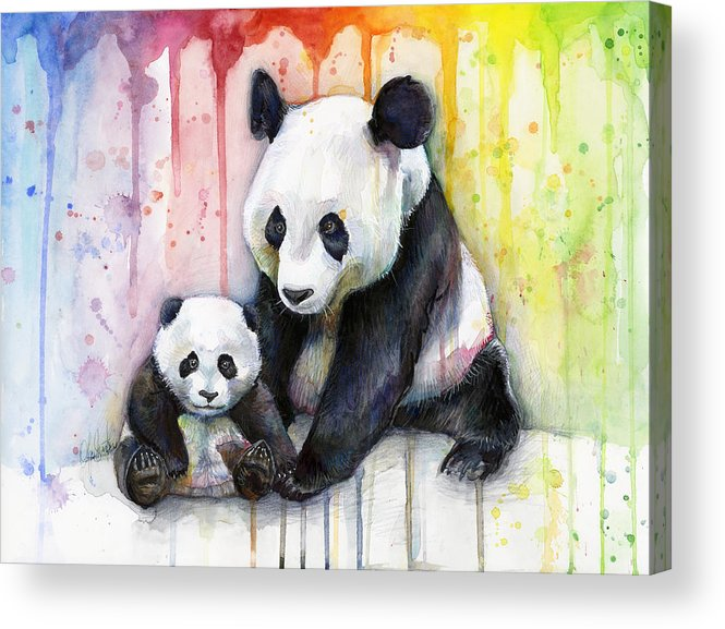 Watercolor Acrylic Print featuring the painting Panda Watercolor Mom And Baby by Olga Shvartsur