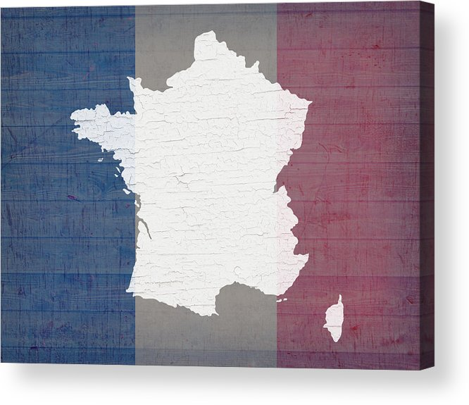 Map Of France To Print.Map Of France In White Old Paint On French Flag Barn Wood Acrylic Print