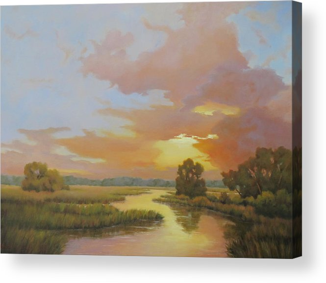 Marsh Acrylic Print featuring the painting Marsh Glow by Barrett Edwards