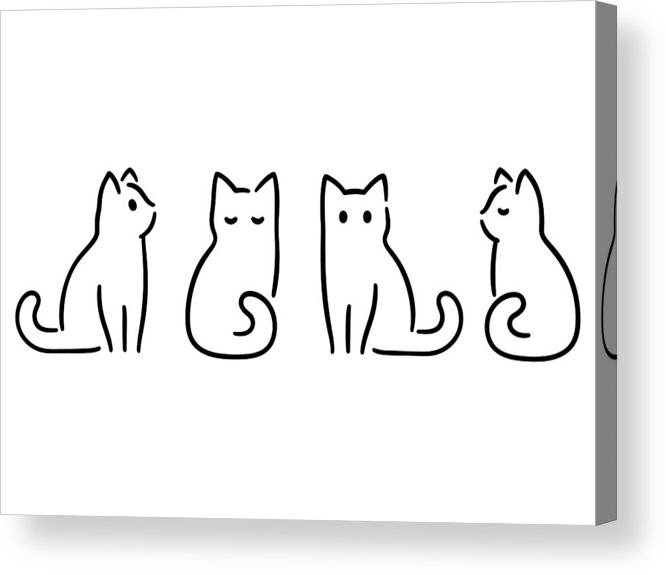 Pets Acrylic Print featuring the drawing Minimal Cat Drawing by Sudowoodo
