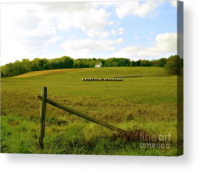 Misty Hills Farm Acrylic Print featuring the photograph Misty Hills Farm by Addie Hocynec