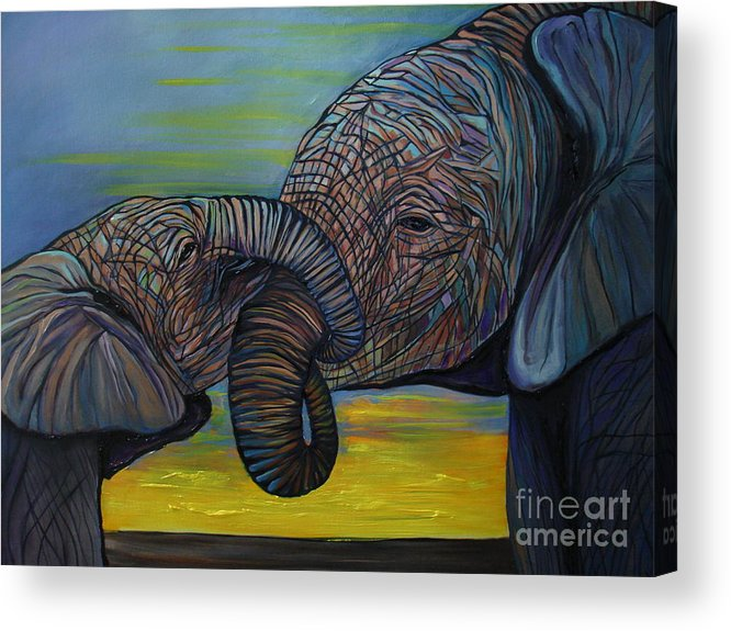 Elephant Acrylic Print featuring the painting Mommy And Baby by Aimee Vance