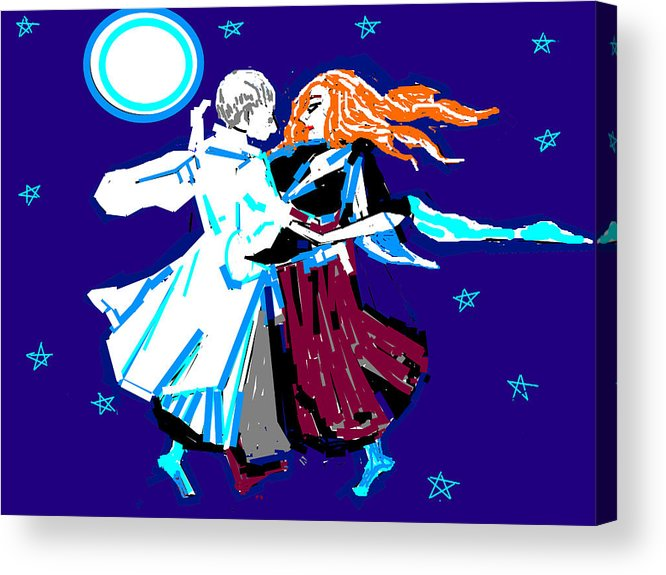 Moon And The Couple Acrylic Print featuring the digital art Moon And The Couple by Anand Swaroop Manchiraju