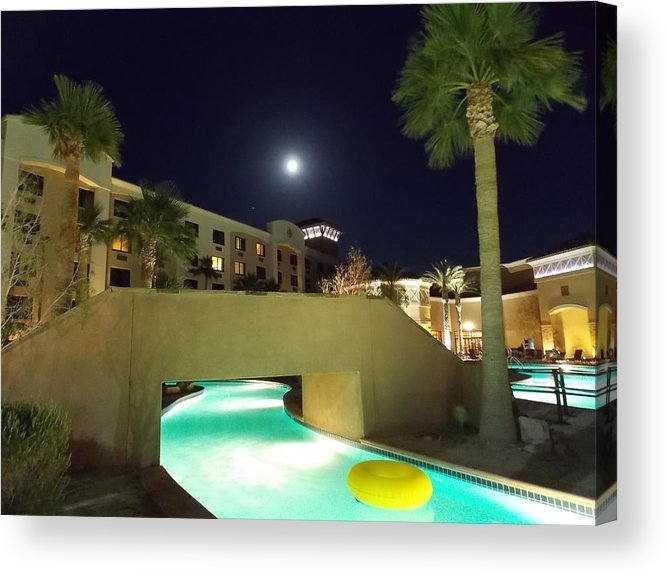 Moon Acrylic Print featuring the photograph Moon Over The Casino by Nina Kindred