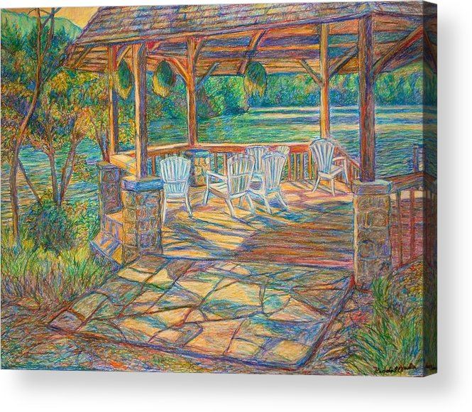 Lake Acrylic Print featuring the painting Mountain Lake Shadows by Kendall Kessler
