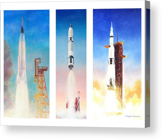Nasa Acrylic Print featuring the painting Nasa Rockets by Douglas Castleman