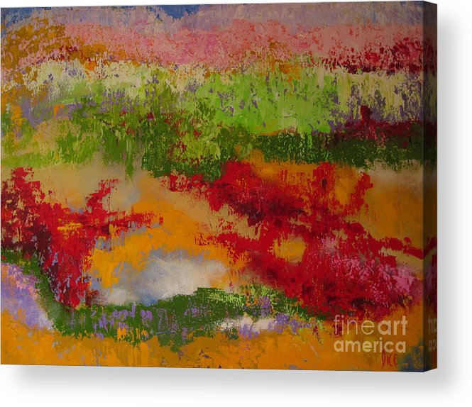 Landscape In Bright Colors Created With A Palette Knife Acrylic Print featuring the painting Nature's Palette by Diana Dice