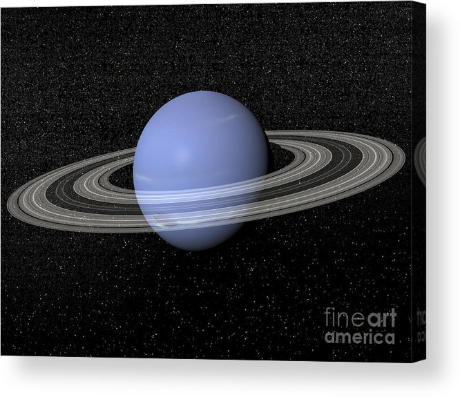 Neptune Acrylic Print featuring the digital art Neptune And Its Rings Against A Starry by Elena Duvernay