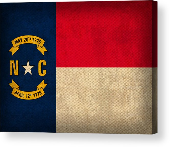 North Acrylic Print featuring the mixed media North Carolina State Flag Art On Worn Canvas by Design Turnpike