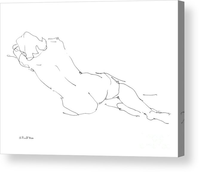 Females Acrylic Print featuring the drawing Nude Female Drawings 9 by Gordon Punt