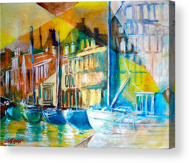 Old World Street Acrylic Print featuring the painting Old Copenhagen Thru Stained Glass by Seth Weaver