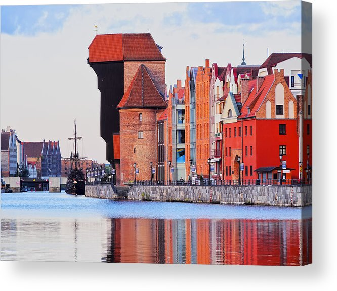 Building Acrylic Print featuring the photograph Old Port Crane In Gdansk by Karol Kozlowski