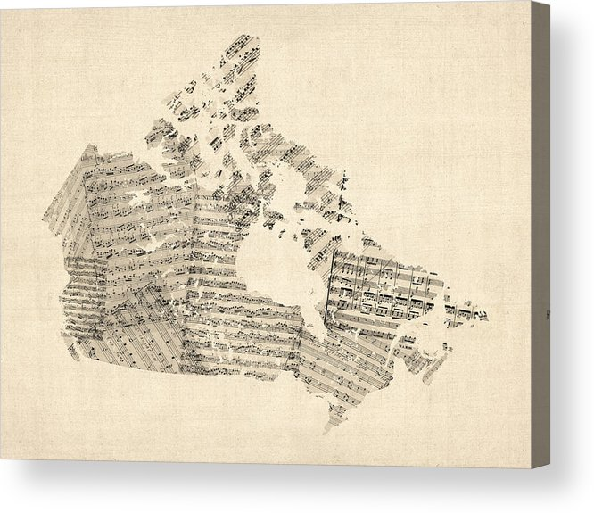 Canada Map Acrylic Print featuring the digital art Old Sheet Music Map Of Canada Map by Michael Tompsett