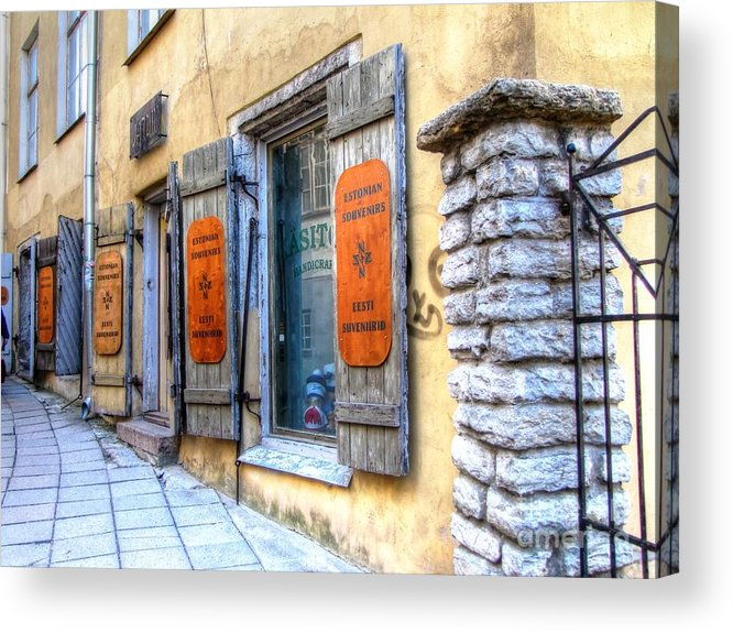 Old Street Acrylic Print featuring the pyrography old street Tallin by Yury Bashkin