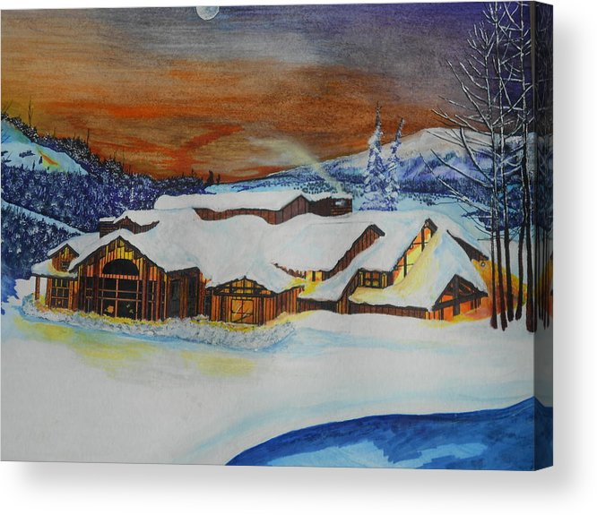 House Acrylic Print featuring the painting Peaceful Silence by Willie McNeal