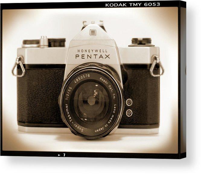 Vintage Film Camera Acrylic Print featuring the photograph Pentax Spotmatic IIa Camera by Mike McGlothlen