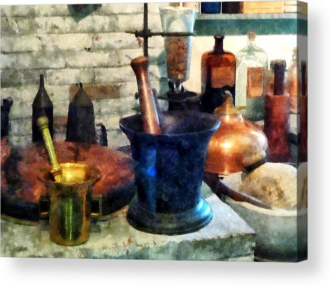 Drugstore Acrylic Print featuring the photograph Pharmacist - Three Mortar And Pestles by Susan Savad