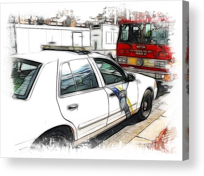 911 Acrylic Print featuring the photograph Philadelphia Police Car by Fiona Messenger