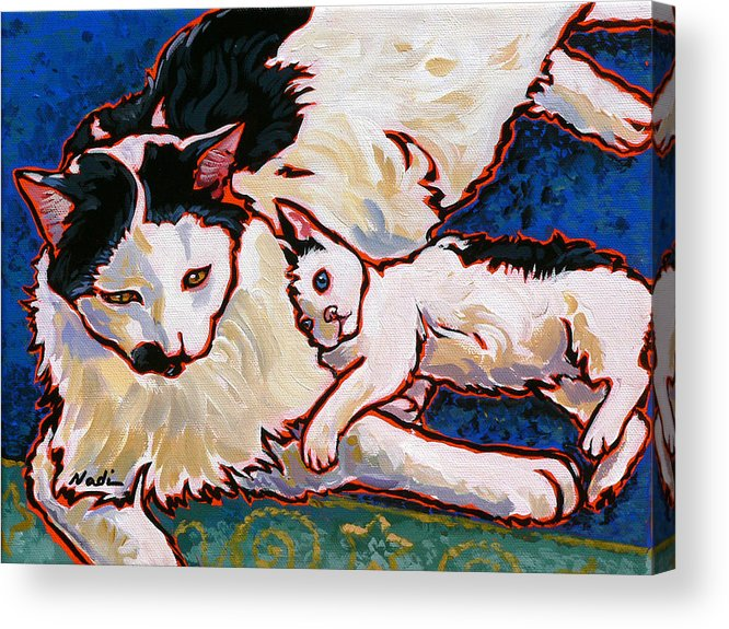Cat Acrylic Print featuring the painting Pirate And June by Nadi Spencer