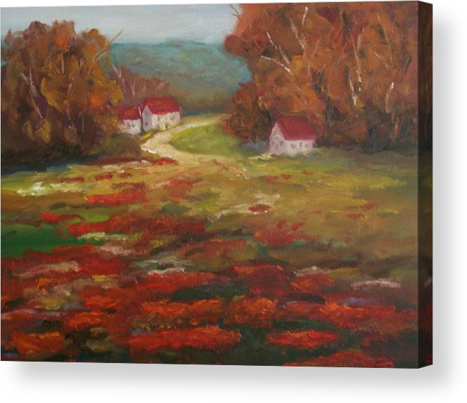 Field Of Poppies Acrylic Print featuring the painting Poppies by Ellen Ebert