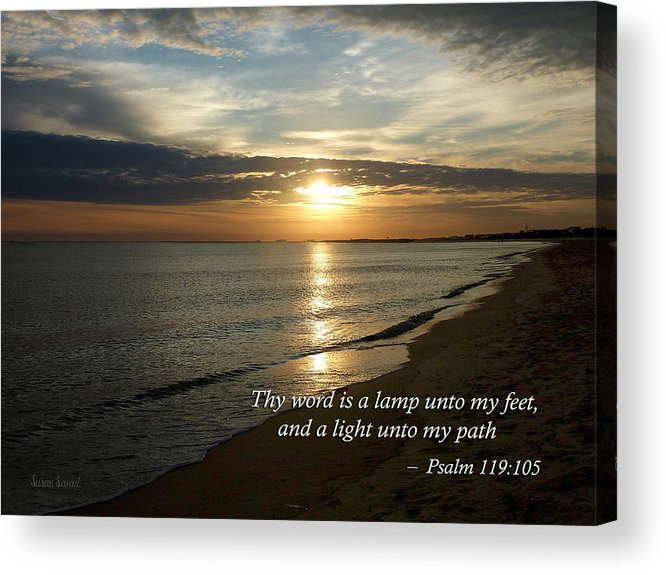 Religious Acrylic Print featuring the photograph Psalm 119-105 Your Word Is A Lamp by Susan Savad