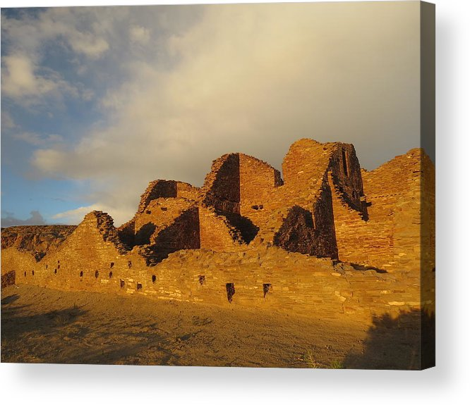 Chaco Acrylic Print featuring the photograph Pueblo Del Arroyo At Sunset II by Feva Fotos