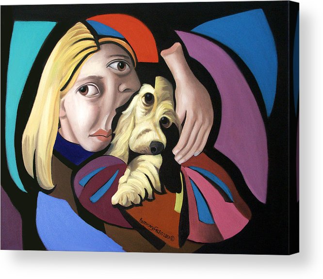 Puppy Love Framed Prints Acrylic Print featuring the painting Puppy Love by Anthony Falbo