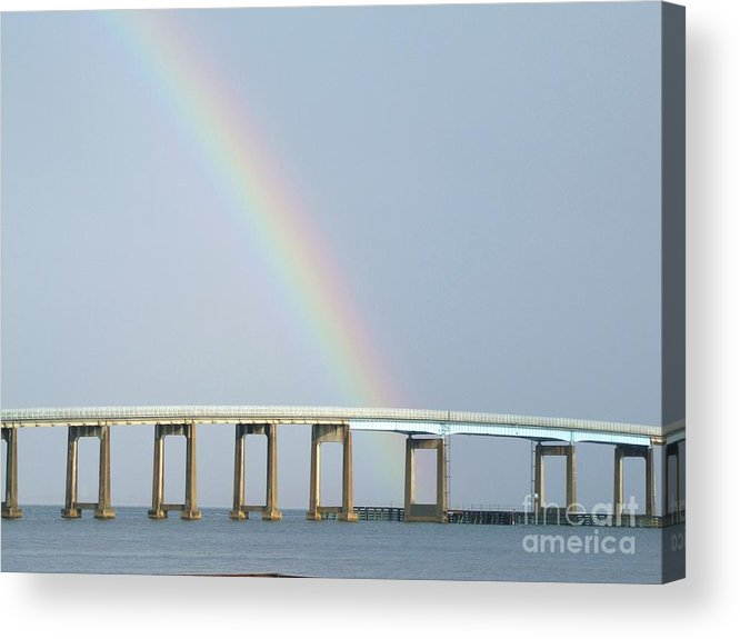 Rainbow Acrylic Print featuring the photograph Rainbow On Top Of The Bridge by Michelle Powell