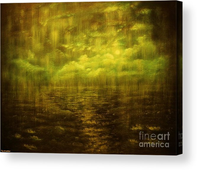 Rain Acrylic Print featuring the painting Rainy Night Over Norway-original Sold-buy Giclee Print Nr 20 Of Limited Edition Of 40 Prints by Eddie Michael Beck