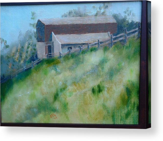 Landscape Horse Barn Estate Acrylic Print featuring the painting Rancho Sante Fe Stable Of Sahm by Bryan Alexander