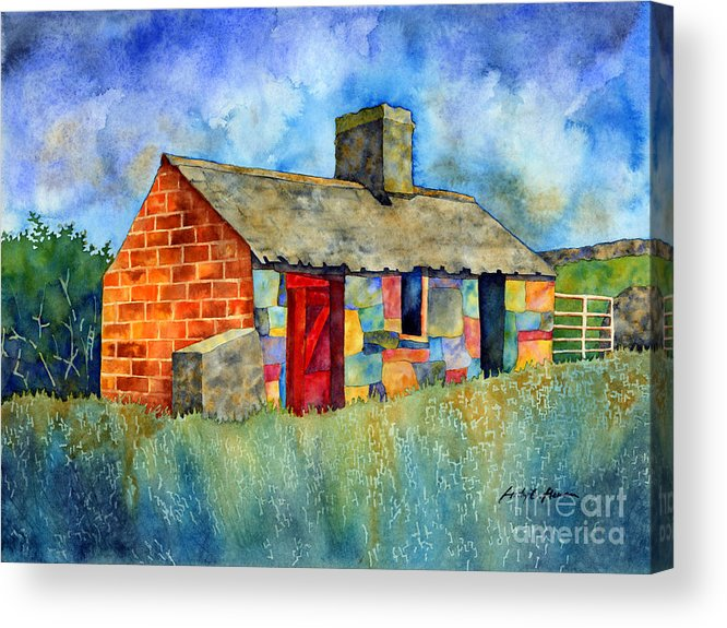 Painting Acrylic Print featuring the painting Red Door Cottage by Hailey E Herrera