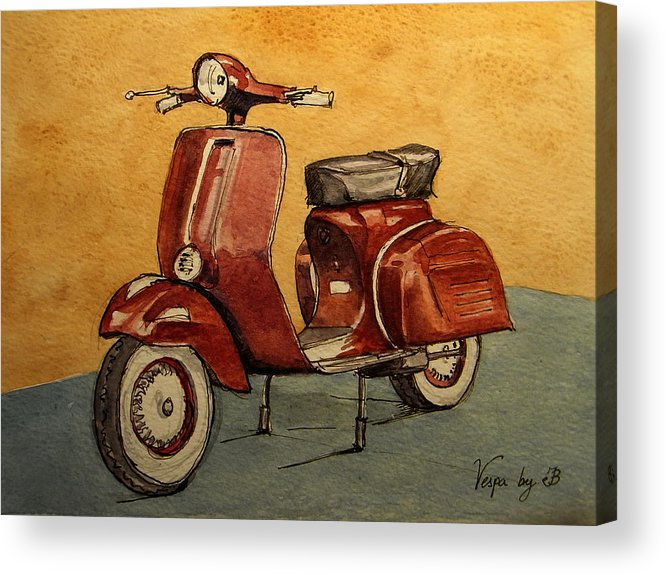 Red Acrylic Print featuring the painting Red Vespa by Juan Bosco