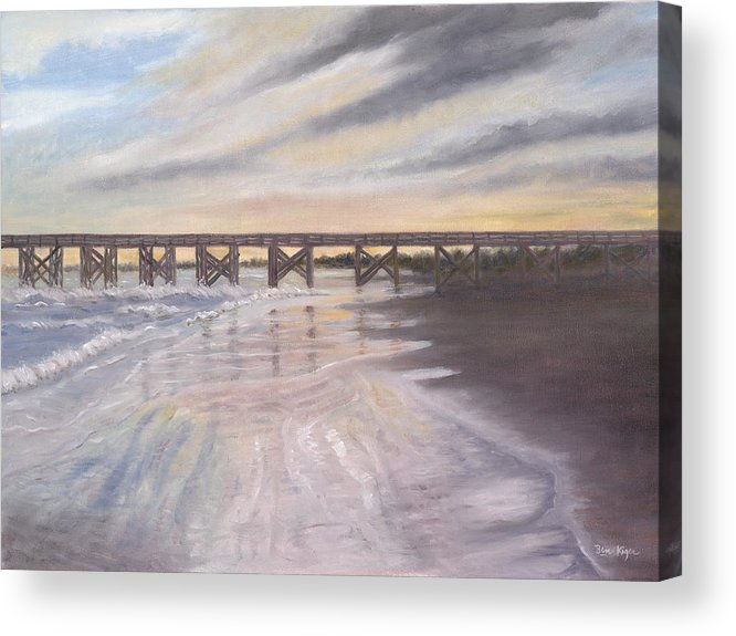 Beach; Pier; Low Country Acrylic Print featuring the painting Reflections by Ben Kiger