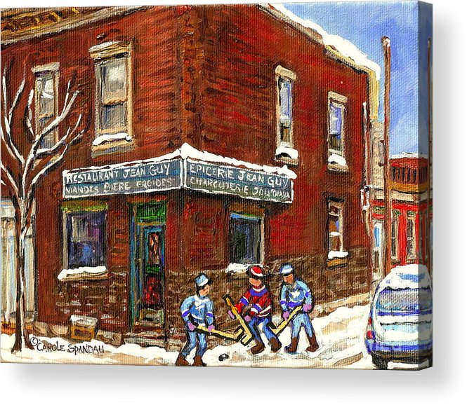 Montreal Acrylic Print featuring the painting Restaurant Epicerie Jean Guy Pointe St. Charles Montreal Art Verdun Winter Scenes Hockey Paintings  by Carole Spandau