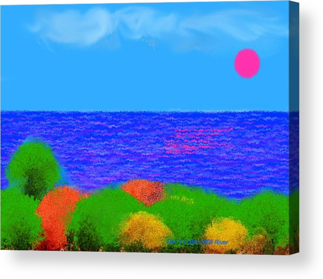 Sky.sun.clouds.sea.waves.sun Reflection.coast.trees.colors.green.blue.orange.yellow.evening.river.na Acrylic Print featuring the digital art River by Dr Loifer Vladimir