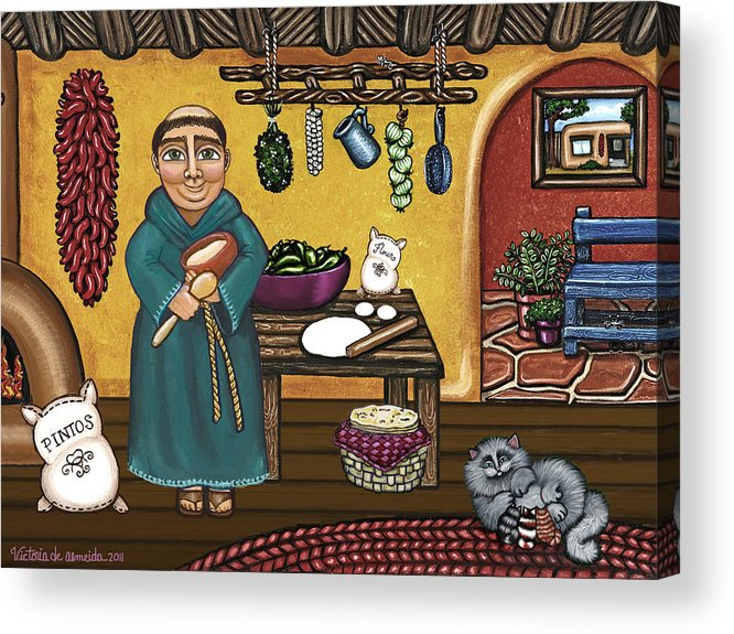 San Pascual Acrylic Print featuring the painting San Pascuals Kitchen by Victoria De Almeida