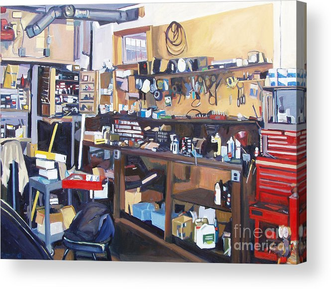 Garage Acrylic Print featuring the painting Sanctum Sanctorum by Deb Putnam