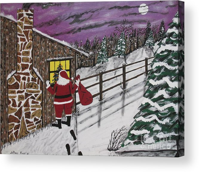 Santa Claus Acrylic Print featuring the painting Santa Claus Is Watching by Jeffrey Koss