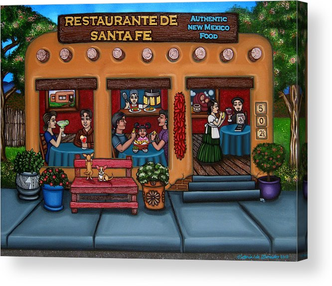 Folk Art Acrylic Print featuring the painting Santa Fe Restaurant by Victoria De Almeida