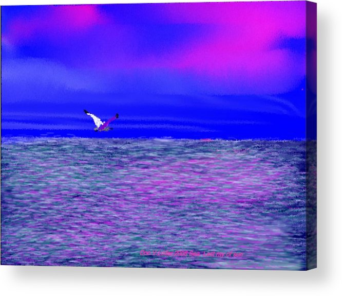 Evening.sky.clouds.sunrays.sun.sunset.sea.waves.colors.blue.pink.red.dark Blue Acrylic Print featuring the digital art Sea. Last Rays Of Sun by Dr Loifer Vladimir