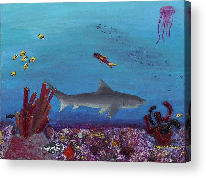 Shark Acrylic Print featuring the painting Sea Life by Maggie Morrison