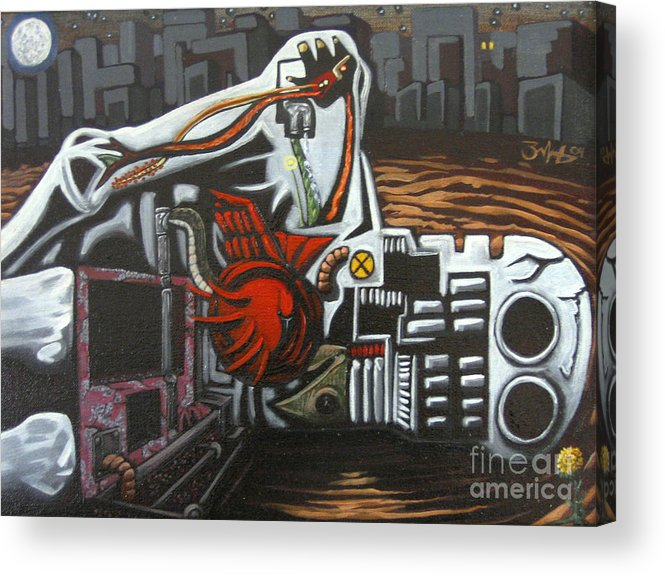 Painting Acrylic Print featuring the painting Self Portrait Assuming I Had Died Before I Lived by Mack Galixtar